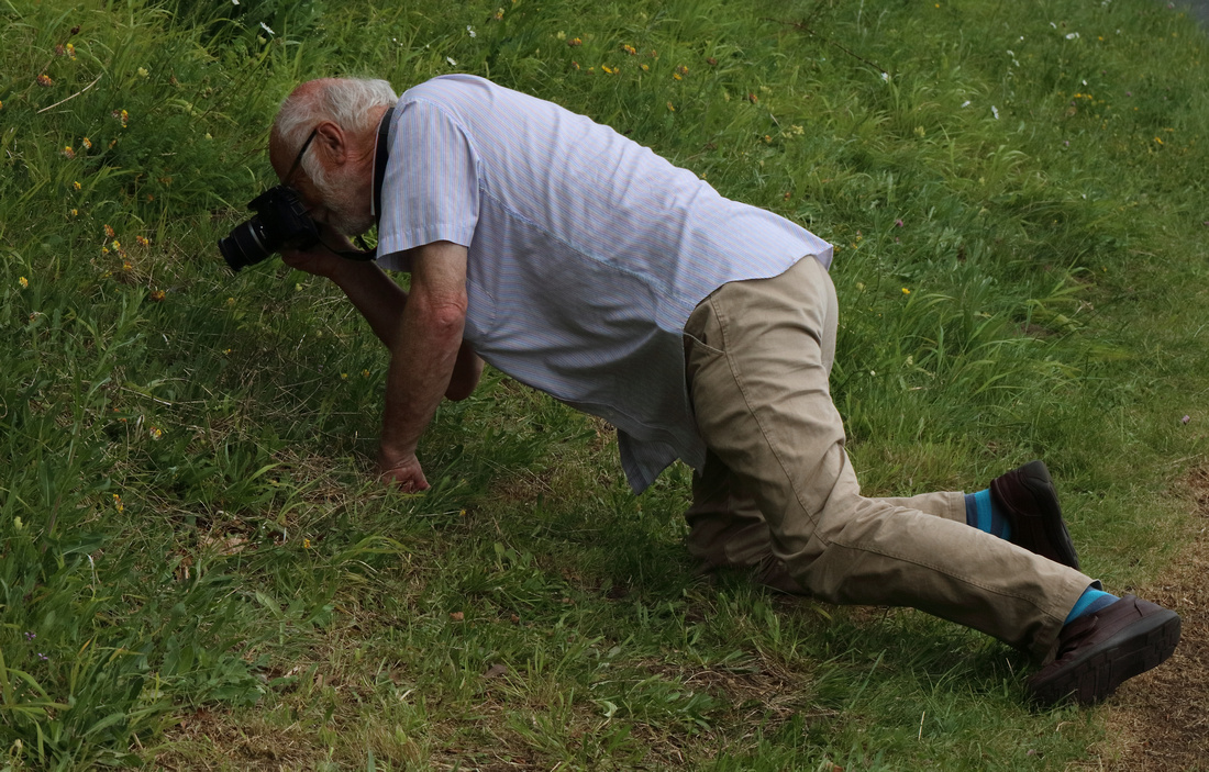 Barry photographing Small Blue